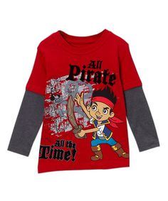 Look at this Red 'All Pirate' Layered Tee - Toddler on #zulily today!