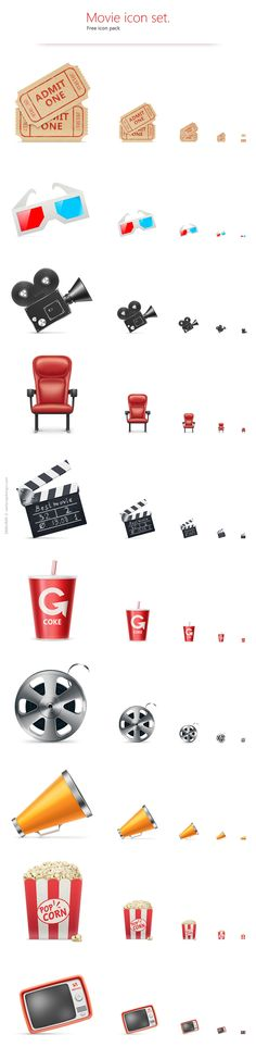 """Movie Icon Set"" by Samuray. Icons are available in six different sizes as transparent PNGs, JPGs and PhotoShop PSDs."