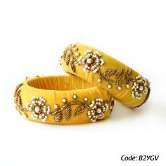 Rusaru Yellow Velvet Bangle Done with delicate pearl and zardosi work on yellow pure velvet base, Weird Jewelry, Fancy Jewellery, Thread Jewellery, Fabric Jewelry, Beaded Jewelry, Silk Thread Bangles Design, Silk Bangles, Bridal Clutch, Wedding Shoes