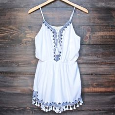 navy embroidered boho romper with fringe tassels in white