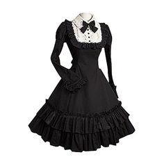 Partiss Women Long Sleeves With Bowknot Classic Lolita Fancy Dress ($49) ❤ liked on Polyvore featuring dresses, longsleeve dress, long sleeve dresses, dressy dresses, fancy dress and long sleeve fancy dresses