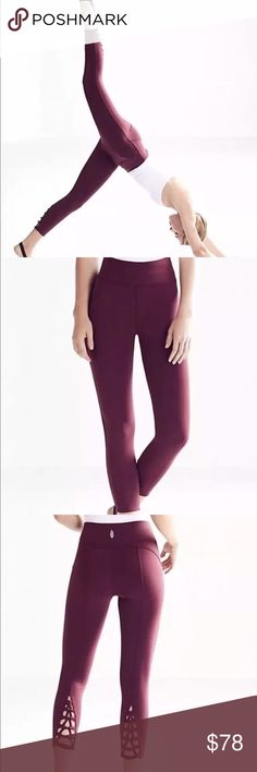 """Free People Wine Kali Leggings Feel the burn in these cropped performance leggings featuring a quick-dry liner to keep you cool and a unique Power Mesh lining for ultra breathable wear. Lace-up details at the ankle add a cool fashion element to this sport-ready style.  Yoga. Dance. Surf. Run. Find what moves you. FP Movement is an exclusive, in-house label.  88% Polyamide, 12% Spandex Machine Wash Cold Import Measurements for size Extra Small Waist: 25"""" = 63.5 cm Rise: 8.5"""" = 21.59 cm…"""