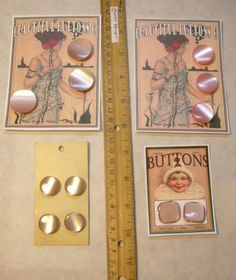 12 Vintage Fancy Shades of PINK Pearl Tone BUTTONS = La Mode + Art CARDS FUN DIY