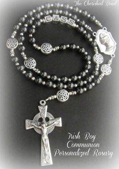 Irish Boy Personalized Communion Rosary with by TheCherishedBead, $55.00