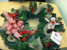 Santa and snowman on burlap.