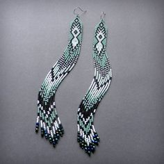 Extra long seed bead earrings Whisper of grass by Anabel27shop