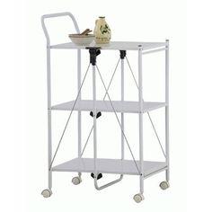 Kitchen Utility Cart Folding Wheel Bar Glass White Chrome PW-111WH Azumaya Japan #AzumayaJapan