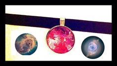 """Velvet Choker Necklace Choker - with Galaxy Space Nebula picture - nebula - space scenes full of stars, planets and galaxies Glass Dome Cabochon in round silver colored 25mm tray (1"""") Width of velvet ribbon 3/8"""" (10 mm) Gun metal clasp & extender. Message me size, design & ribbon color black, baby blue, pink, white, yellow, green or purple. This item is made to order for a custom fit. When ordering, please message me the size from the drop down menu. Also message me which design. To measure…"""