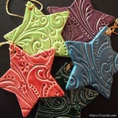 A simple salt dough, a cookie cutter, a rubber stamp and a little paint. Such pretty ornaments or gift tie-ons. *The stars pictured are NOT salt dough ornaments! They're ceramic. Noel Christmas, Diy Christmas Ornaments, All Things Christmas, Winter Christmas, Holiday Crafts, Holiday Fun, Fun Crafts, Crafts For Kids, Christmas Decorations