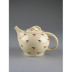 'Wren' shape teapot, earthenware with 'Cromer' pattern painted in enamel colour, designed by Susie Cooper, made by Wood & Sons, England, ca. 1935