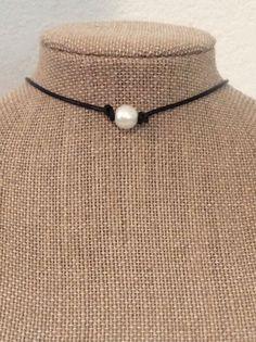 Leather Pearl Choker Pearl Leather Choker Leather Pearl Necklace #Handmade #Choker