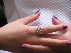 Air Ring in Solid silver with cataforetic plated, Sterling Silver, Modern Jewelry, Hand Made
