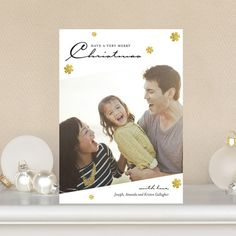 Add your favorite family photo to this 'Fascinating Flurry' #Christmas Card. The black script and gold detail will make your image pop!