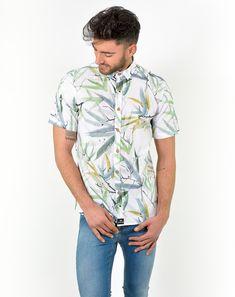 Camisa de manga corta Amarillo claroEstampado hojas