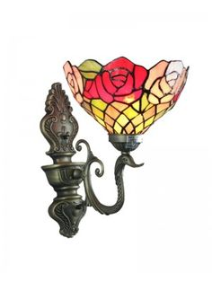 """8"""" Stained Glass Rose Shade One Light Tiffany Wall Sconce  $145.95"""
