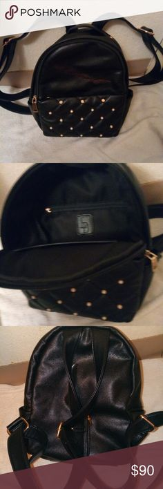 LD backpack Mini backpack purse made of black leather studded w/Fire Opal studs. Gold hardware Le Donn Bags Mini Bags