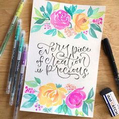 Watch this short video of me using my tombow fudenosuke brush pen to write an inspirational quote on Arches watercolor paper. The loose florals were painted on a separate occasion with Arteza Twimarkers and Peggy Dean's eco-friendly round brushes. Watercolor Calligraphy Quotes, Calligraphy Drawing, Calligraphy Cards, Hand Lettering Alphabet, Hand Lettering Quotes, Brush Lettering, Marker Paper, Arches Watercolor Paper, Halloween Doodle