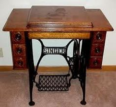 Old treadle sewing machine - Although this is not mine, it looks just like it. It came from my great aunts, and it still works!