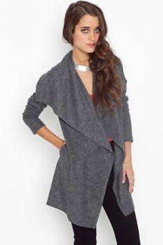 Soho Draped Wool Jacket - Charcoal