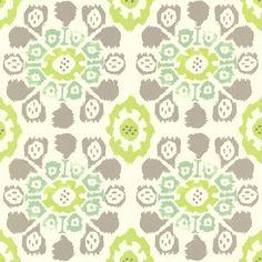 Valencia Green Ikat Floral Wallpaper