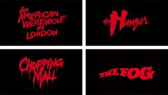 1980s horror movie poster logos and typography.