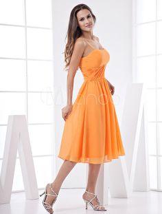 vestido de dama de honor em linha-A com alças finas - Milanoo.com