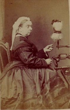 Queen Victoria at the Spinning Wheel 1875. The Queen encouraged all women to learn handcrafts to help support their families, which lead to a resurgence in lace-making, local knitting styles, and embroidery as well as spinning.