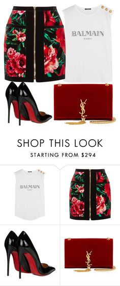 """Без названия #3615"" by pakalova ❤ liked on Polyvore featuring beauty, Balmain, Christian Louboutin and Yves Saint Laurent"