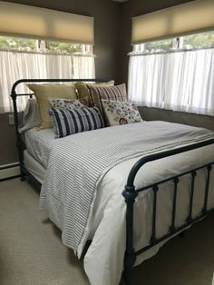 The Weston Home Nottingham Metal Spindle Bed has a rustic, retro vibe. Both the headboard and footboard of this classic bed are graced by six spindles. Country Bedroom Design, Metal Spindles, Spindle Bed, Highland Homes, Bed Dimensions, Rustic Contemporary, Home Comforts, Metal Beds, Headboard And Footboard