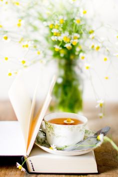 I don't like chamomile tea (except the smell), but this is pretty. Coffee Break, Coffee Time, Tea Time, Café Chocolate, Pause Café, Tea And Books, Chamomile Tea, My Cup Of Tea, How To Squeeze Lemons