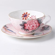 Wedgwood Pink 'Cuckoo' cup and saucer.