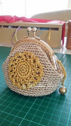 Crochet Gamaguchi Golden Flower Coin Purse