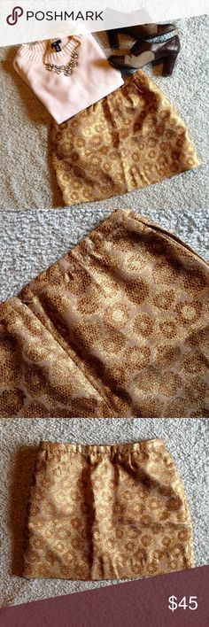 (ON VACATION) Gold Shimmer Skirt - J. CREW So shimmery, metallic, and sparkle-y (more than the photos show)!!! ✨ A lovely piece for a holiday party or New Year's outfit. Could work for a bachelorette party too Gold and bronze glitter thread woven throughout this leopard/animal print mini skirt. Hidden back zipper. Pockets on both sides. Dry clean only. Oxford heels for sale in a separate listing!!! J. Crew Skirts Mini