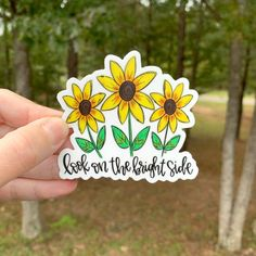 This sticker is hand drawn and hand lettered. It would look so cute on a laptop, vehicle, your Bible, or water bottle just to name a few ideas! It would also be the perfect addition to your sticker collection! Apple Stickers, Diy Stickers, Laptop Stickers, Bumper Stickers, Sticker Ideas, Bright Side Quotes, On The Bright Side, Floral Drawing, Aesthetic Stickers