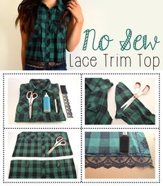 Add an adorable, feminine touch to any plaid shirt with some lace and fabric glue! That simple, no sewing required. http://www.ehow.com/ehow-style/blog/diy-lace-trim-plaid-top/?utm_source=pinterest&utm_medium=fanpage&utm_content=blog