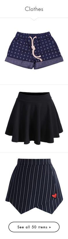 """Clothes"" by barbara-calderon-garcia ❤ liked on Polyvore featuring shorts, bottoms, 1, short, navy blue, anchor shorts, pocket shorts, navy blue shorts, denim shorts and navy shorts"