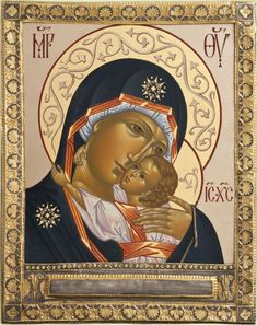 "Богоматерь ""Игоревская"" Mother Of Christ, Blessed Mother, Byzantine Icons, Byzantine Art, Religious Icons, Religious Art, Writing Icon, Queen Of Heaven, Religious Paintings"