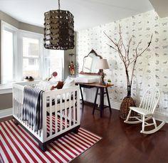 chambre blanche dcore de papier peint animaux et tapis ray - Chambre Orange Et Blanche