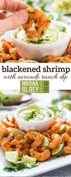 Blackened Shrimp with Avocado Ranch Dip is pan fried blackened shrimp served with a cool, creamy avocado ranch dip! {GF} via @FlavortheMoment #ad @mdr_foods #shrimp #glutenfree #avocado #ranchdip