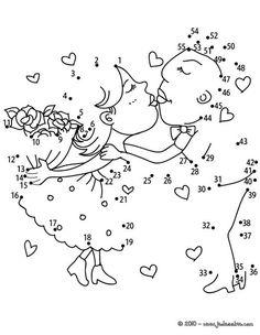 fr.hellokids.com : Impression de la page Les amoureux points à relier difficile