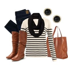 striped shirt, brown boots, jeans, black scarf