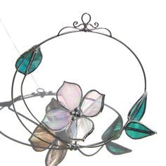 Spinning Dogwood Flower 3D Home Garden Decor Nature Suncatcher Wire Leaves