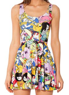 e25d9810d75 Hot selling 2014 new arrival fashion sexy women Adventure Time Bro Ball  Reversible print black milk galaxy skater dress girl