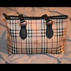 Burberry Khaki Haymarket Check and Leather Tote Used very little. Has small defect on Zipper that can be fixed at a leather shop. Everything else like new. Authentic. No dust bag. Bought at Nordstrom's. Made in Italy. Measurements: 13.5 x 11 x 6 in.  No Trades  Burberry Bags