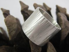 Sterling Silver Wide Hammered Ring  Handmade jewellery/jewelry by ZaZing, NZ$65.00