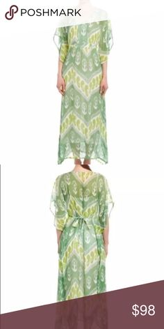 Green Citron Essaouira Caftan Dress Beautiful retired style! Lining slip that is separate so you can wear this as a dress, or even sheer over a swimsuit.  Silk and polyester.  Dress looks exactly as photographed.  I am happy to answer any and all questions before purchasing, as well as provide additional photographs or measurements, if desired. J. McLaughlin Dresses