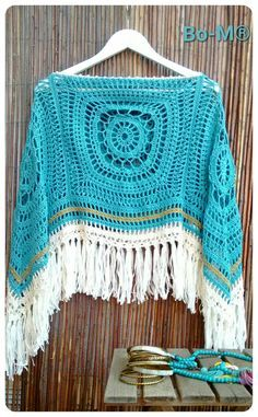 Feito à mão  00855800  fio 100% algodão Crochet Cross, Love Crochet, Knit Crochet, Crochet Poncho Patterns, Crochet Shawl, Crochet Squares, Crochet Granny, Hippie Crochet, Crochet Beanie