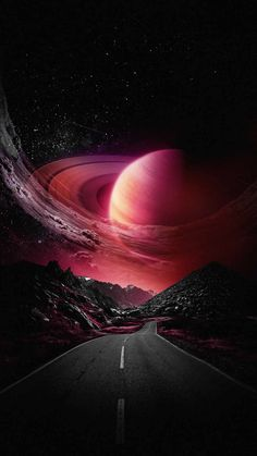 Road To Saturn Planet - IPhone Wallpapers