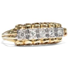 - Ungewöhnlicher Gelb- & Weißgold-Ring mit feurigen Diamanten, um 1955 von Hofer Antikschmuck aus Berlin // #hoferantikschmuck #antik #schmuck # #antique #jewellery #jewelry // www.hofer-antikschmuck.de (21-1832)