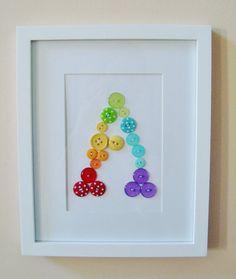 Rainbow Button Letter Wall Art - @Becca Canastra